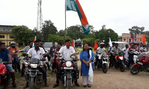 Bike rally organized by Demow Revenue Circle Office on 73rd Independence Day