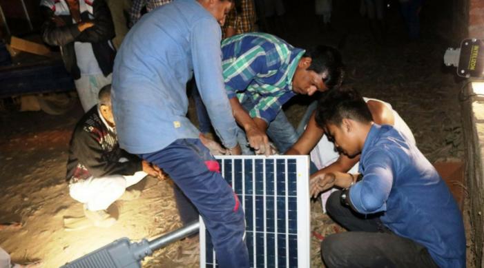 Team Techniche illuminates Amtola village