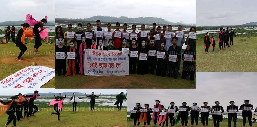 An awareness act by mime artists in Guwahati