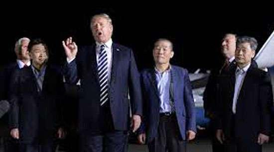 Trump welcomes 3 US  detainees freed by N Korea