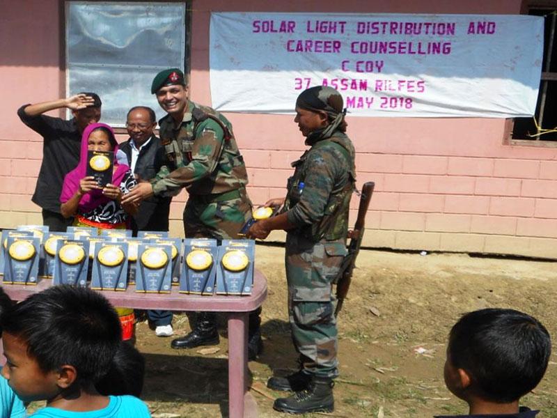 Assam Rifles distributes solar lights