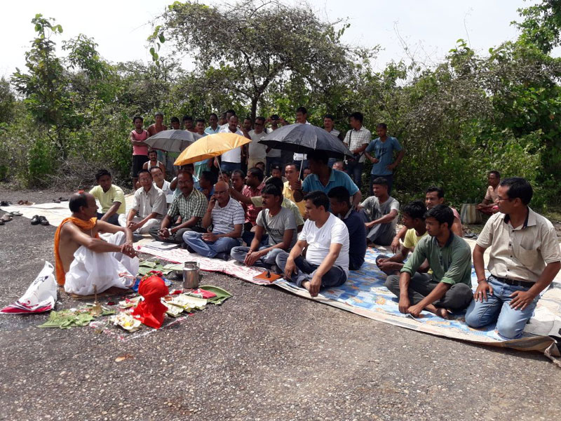 Bhumi pujan for renovation work  of Rupshi Airport performed