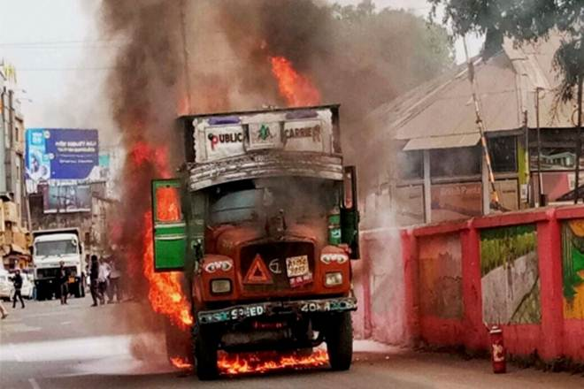One killed in road mishap, irate mob set truck on fire