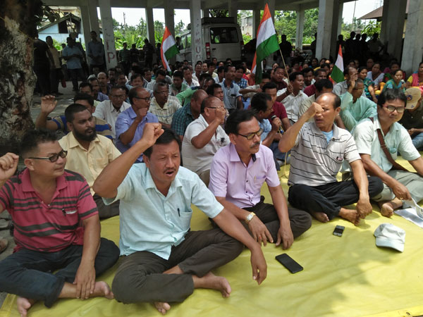 UPPL stages sit-in  demanding land pattas for recognized forest dwellers