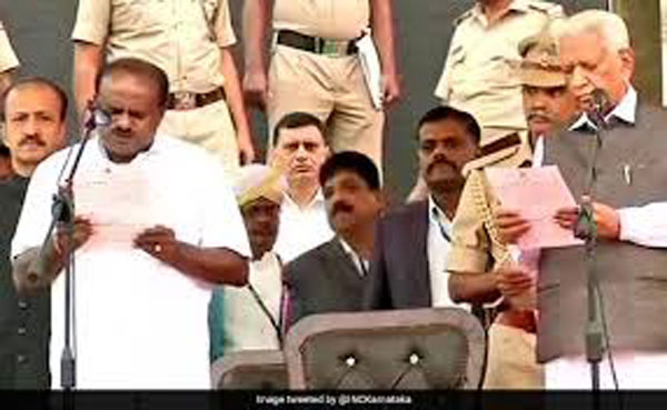 Kumaraswamy takes oath