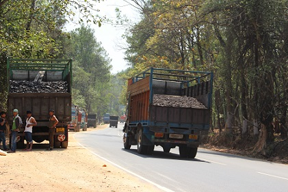 Coal laden trucks detained at Byrnihat
