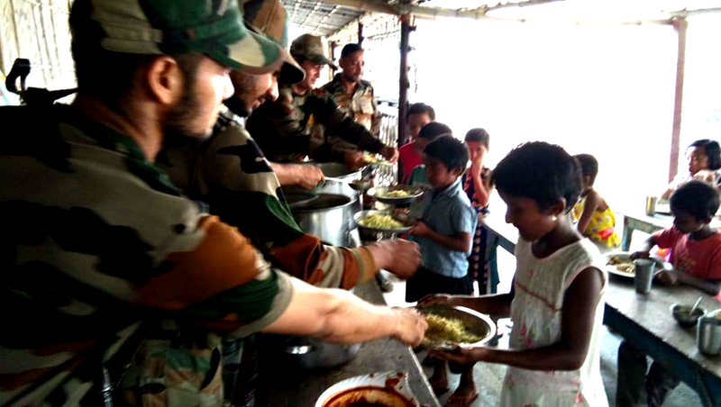 Army provides mid-day meal to orphans