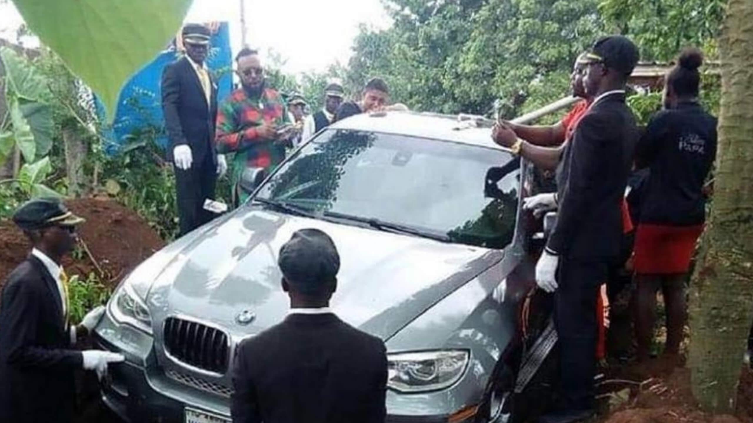 BMW Turned Coffin: Nigerian Man Buries Father in Luxury Sedan