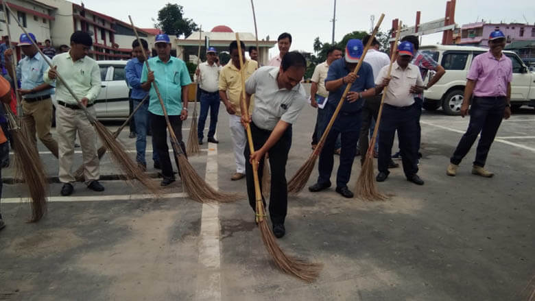 Cleanliness drive in Rangia Railway station