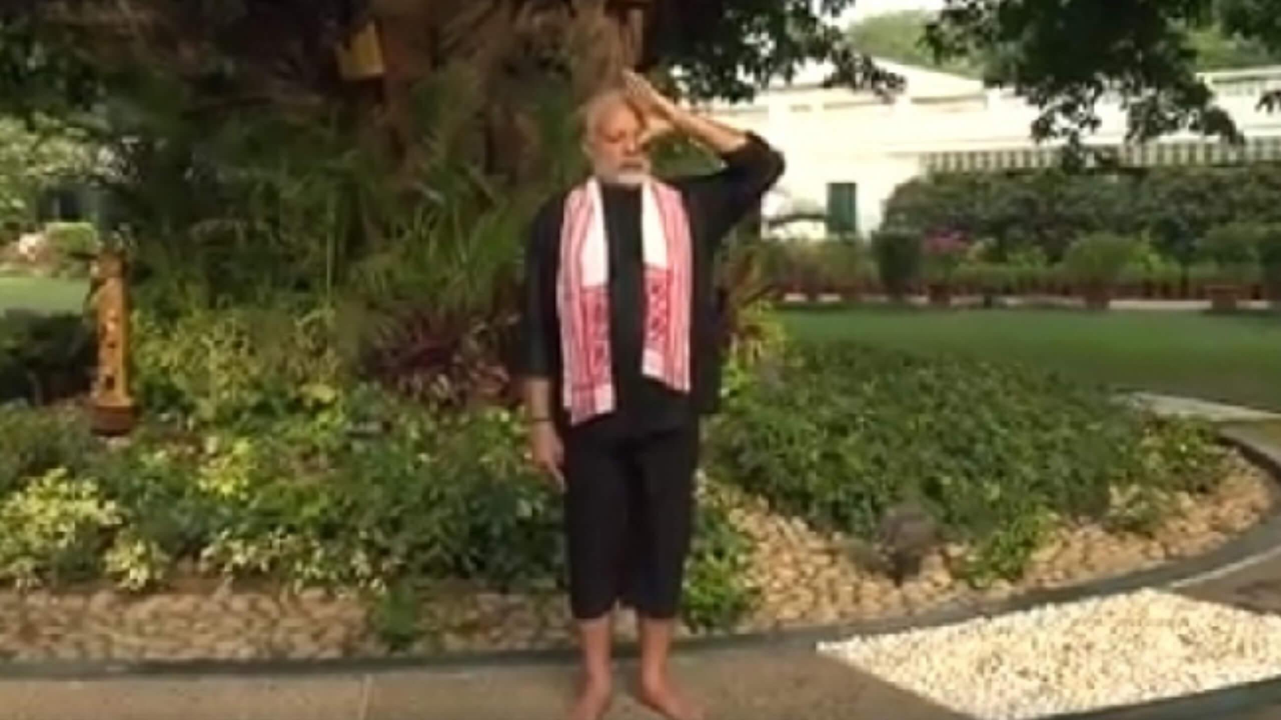 PM Modi Dons Axomiya Gamusa During Yoga Workouts