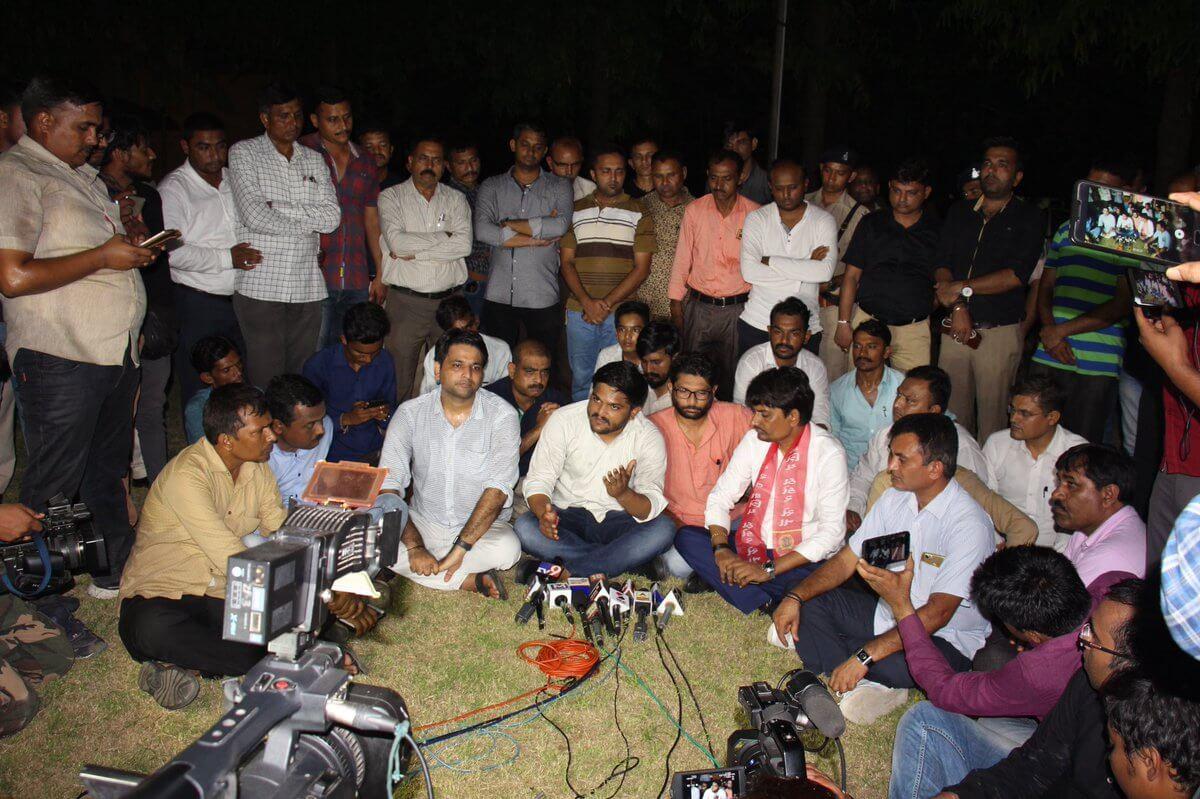 Alpesh, Hardik, Mevani protest outside police station