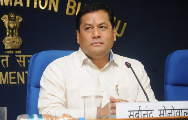 Assam Chief Minister Sarbananda Sonowal felicitates meritorious students of Assam Police personnel