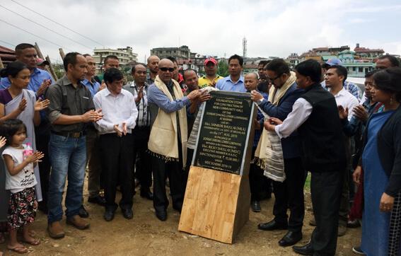 MLA Sanbor Shullai lays foundation for community hall at Lum Mawnei, Shillong