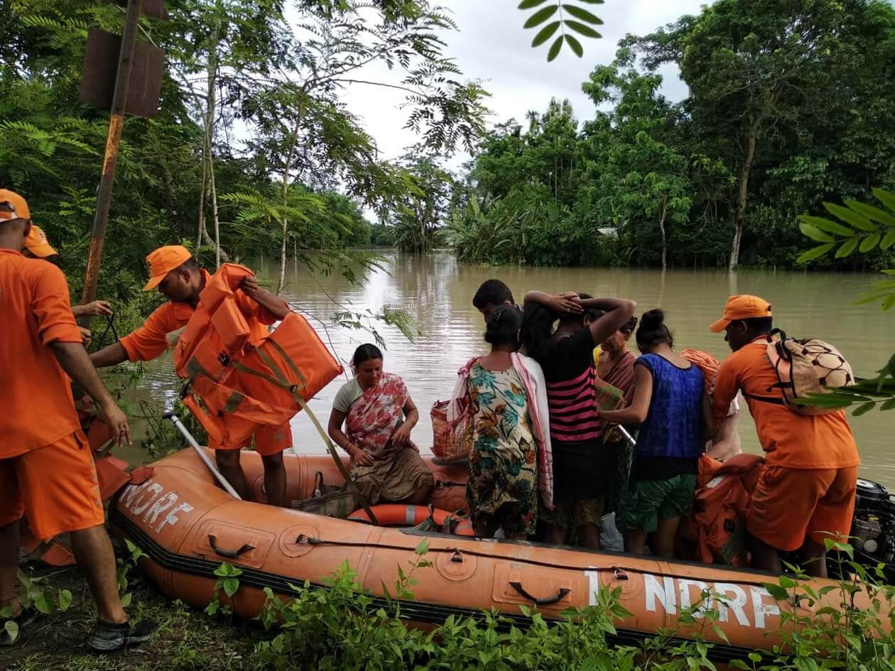 National Disaster Response Force (NDRF) conducts flood rescue operation in Golaghat