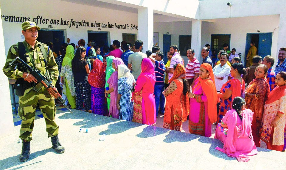 Overwhelming Voter Turnout in  Jammu, Dismal in Kashmir Valley