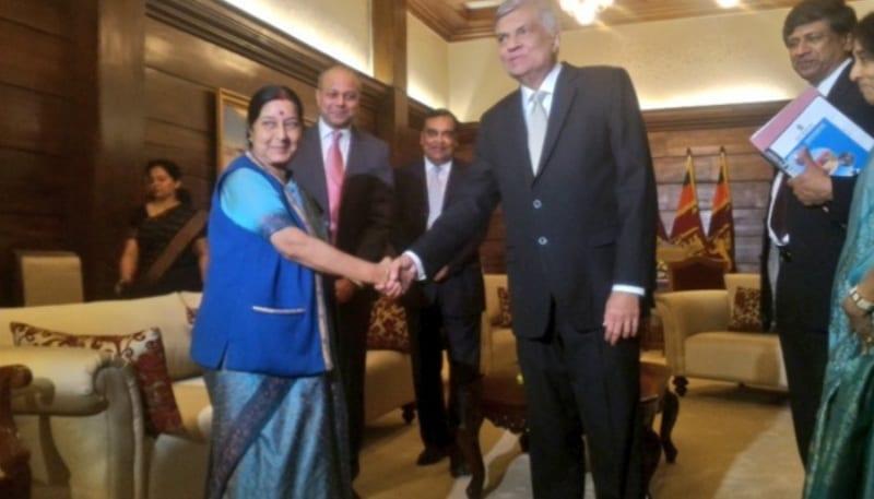 Sushma Swaraj calls on Sri Lankan PM