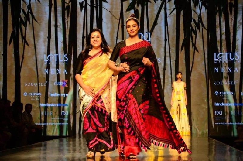 Tabu Walks the Ramp as Showstopper for Sanjukta Dutta