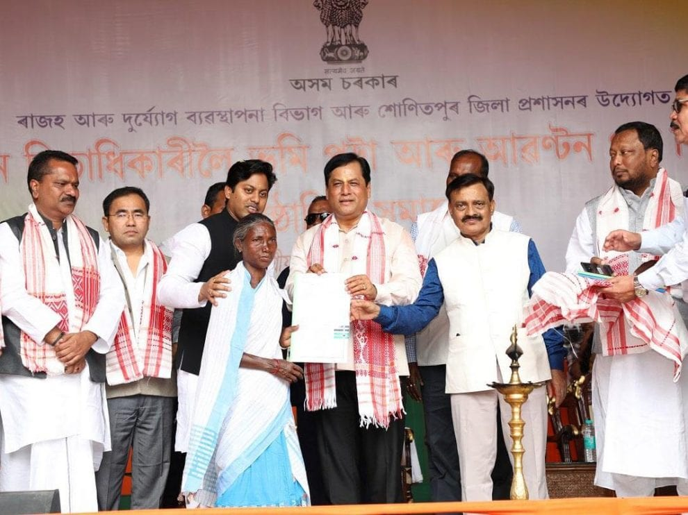 Chief Minister Sarbananda Sonowal on Sunday inaugurated the programme of handing over land pattas and allotment letters to approximately 11,500 landless local families of the State