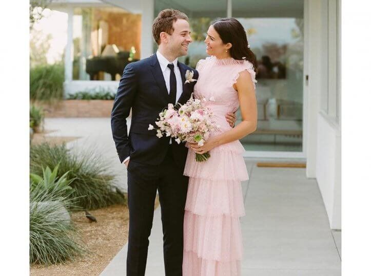 Mandy Moore Gets Married in a Pink Wedding Dress