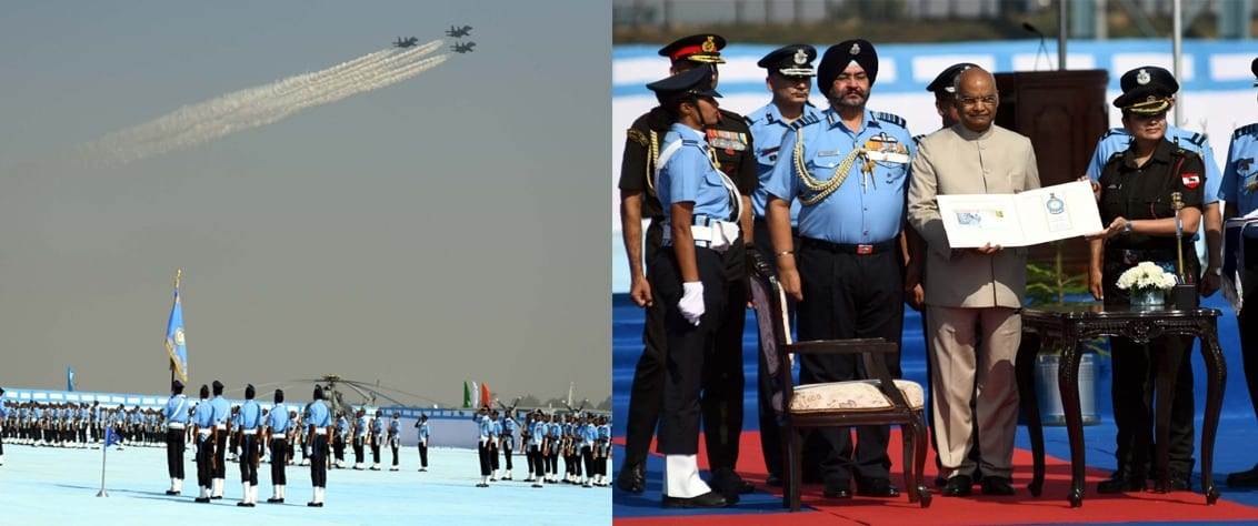President of India presents Standard to 118 Helicopter Unit & Colour to Air Defence College at AFS in Guwahati