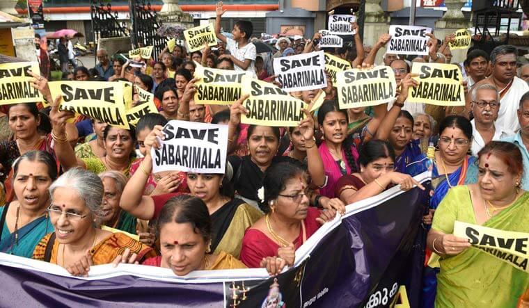 Pilgrims protest in Sabarimala Temple