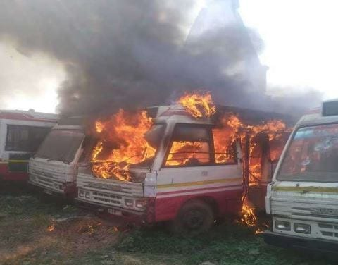 Buses parked in depot catch fire