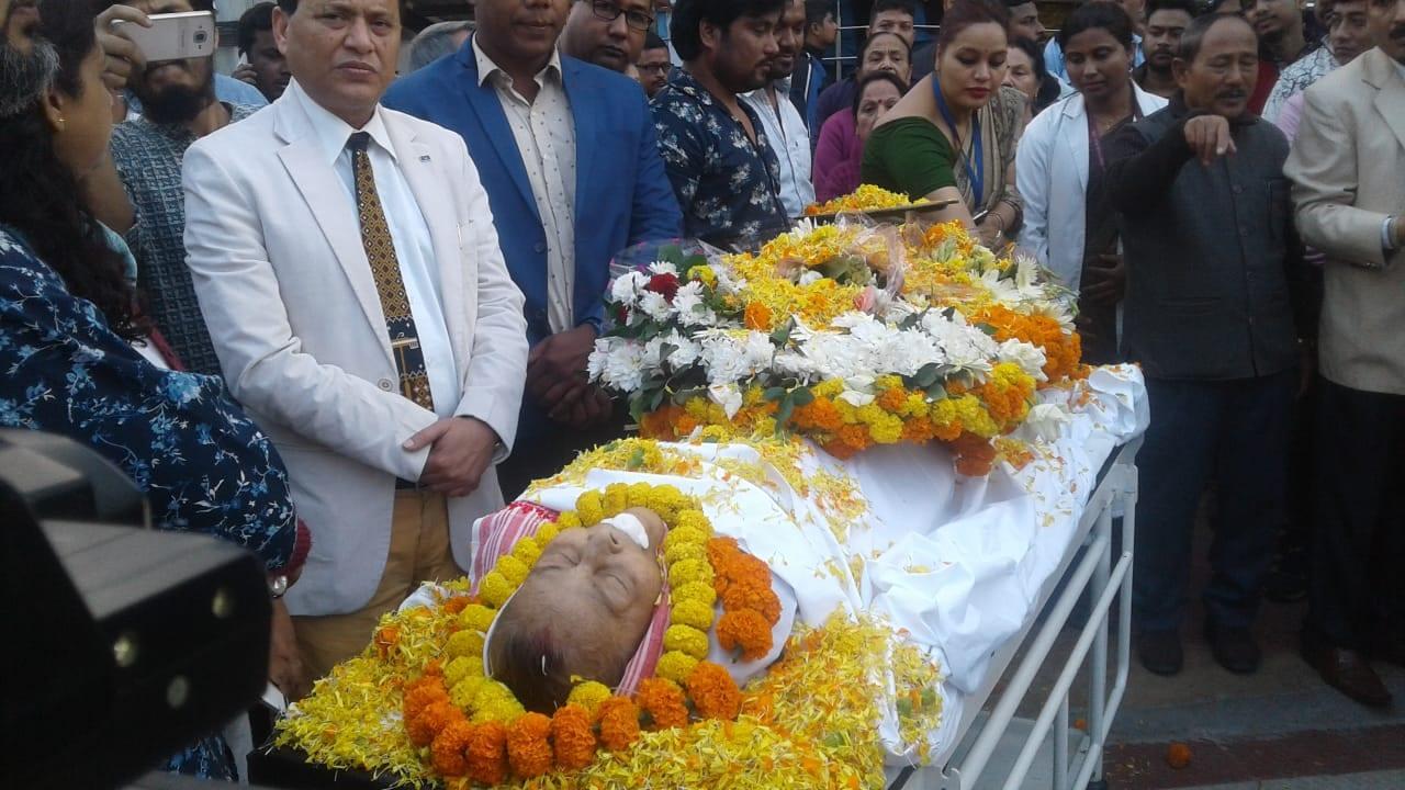 Final Rites of Assams Nightingale Dipali Barthakur performed at Nabagraha Crematorium in Guwahati
