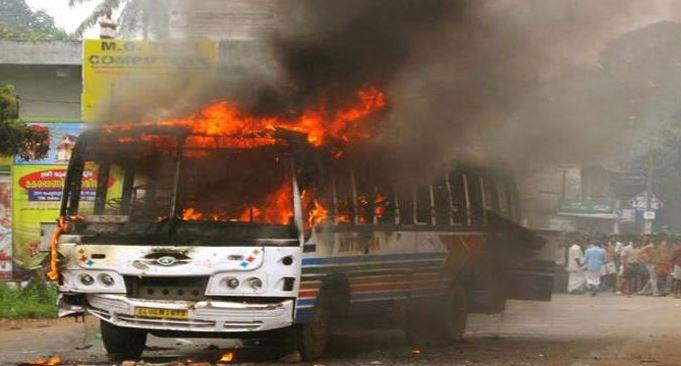 Bus catches fire in Arunachal