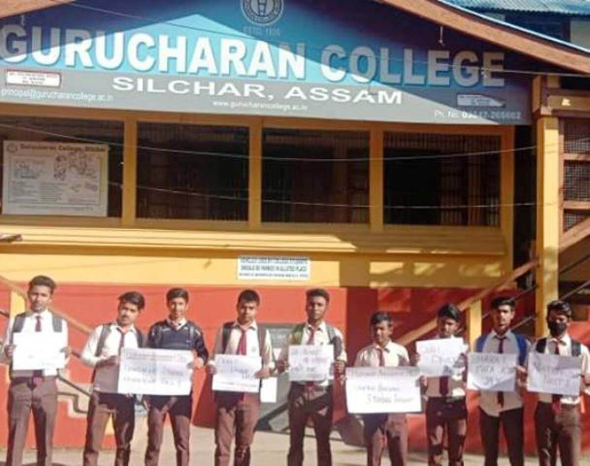 Gurucharan College students stage support for Citizenship Bill