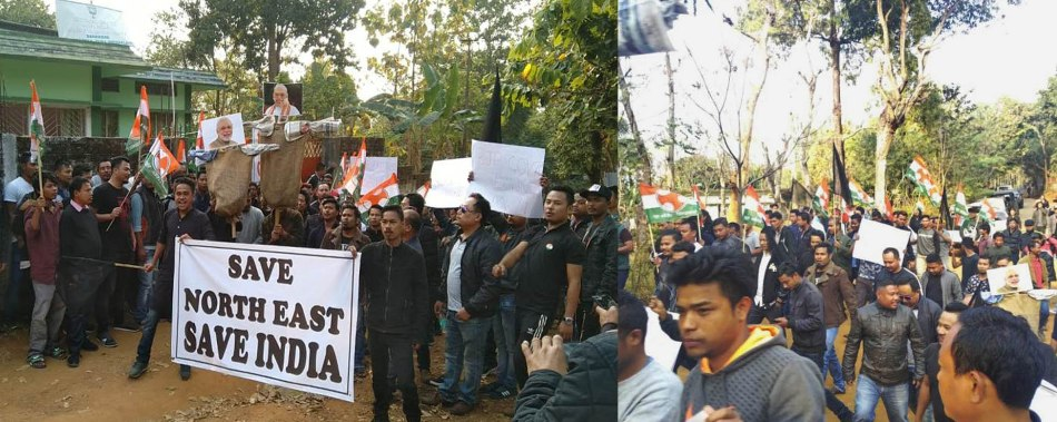 MPYC staged demonstration in front of BJP office in Tura, supports Assam Accord