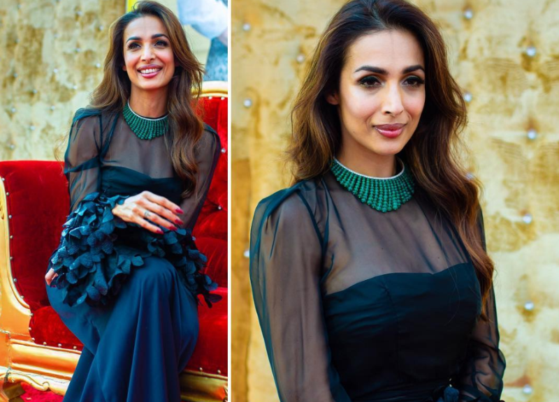Get Inspired By Malaika Aroras Sheer Black Gown For Formal Festive Parties