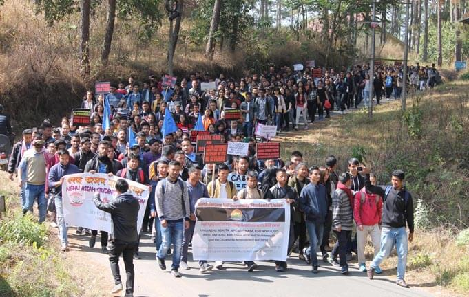 North Eastern Hill University Students, Teachers Stage Anti-CAB Rally