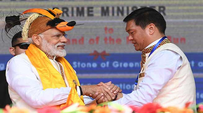 Modi opens Tezu Airport, lays stone for Greenfield Airport