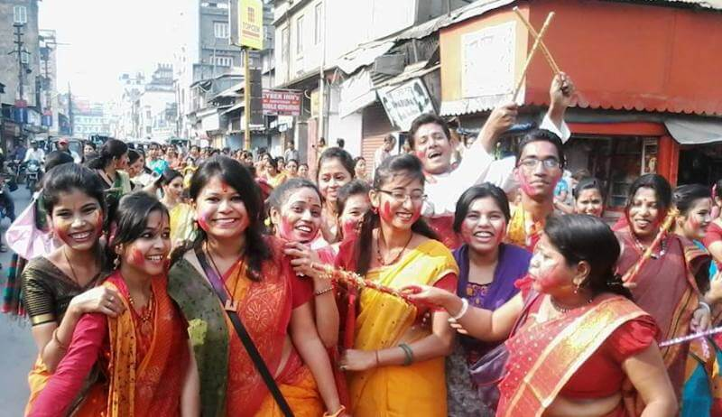 Holi celebrated with fun and frolic despite a heavy downpour
