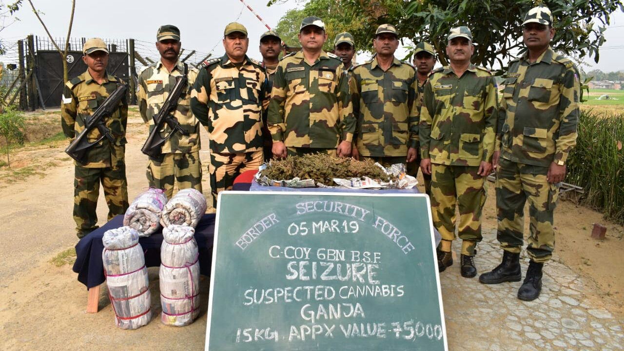 Border Security Force seized 15 kg of Marijuana near Indo-Bangla Border in South Salmara