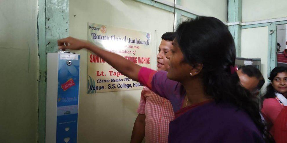 Sanitary napkin vending machine installed by Rotary Club of