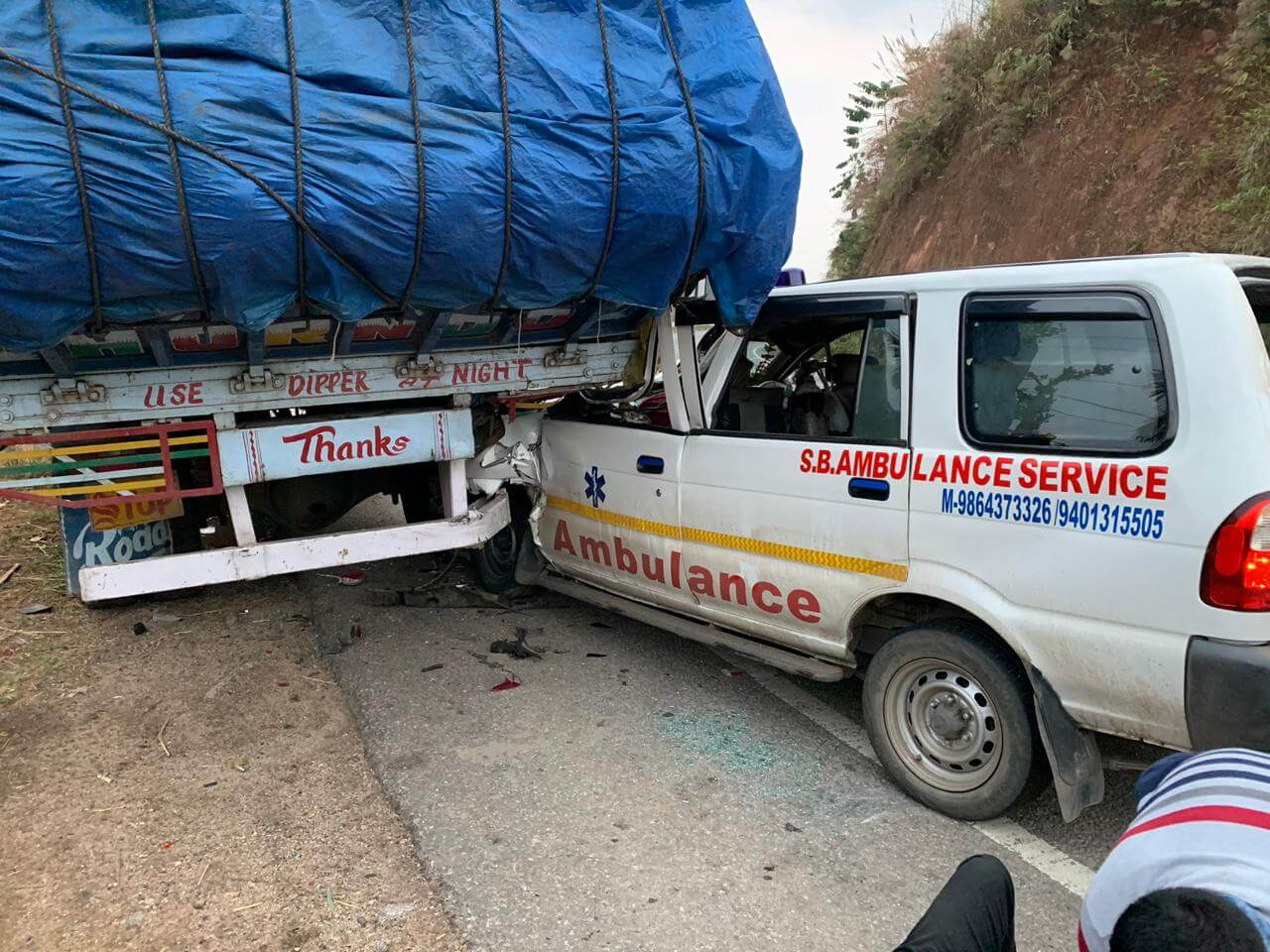 Two dead as an ambulance meets road mishap while heading towards Guwahati