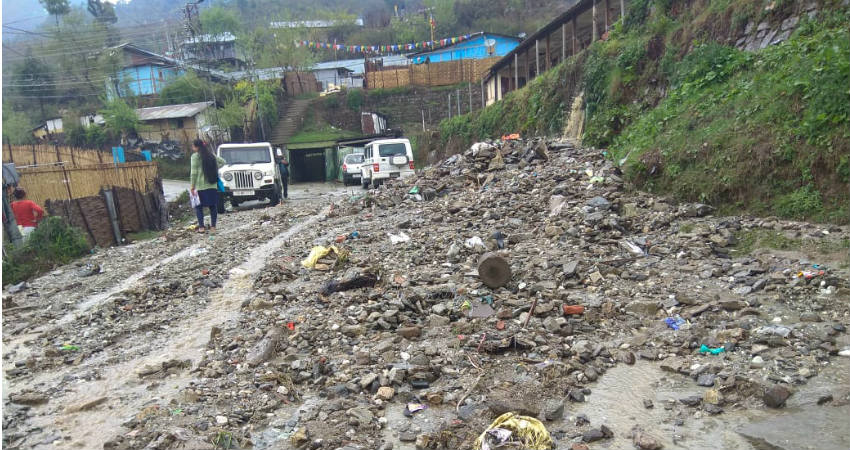 Cloudburst with torrential rain and hailstorm damages roads, homes at Bomdila