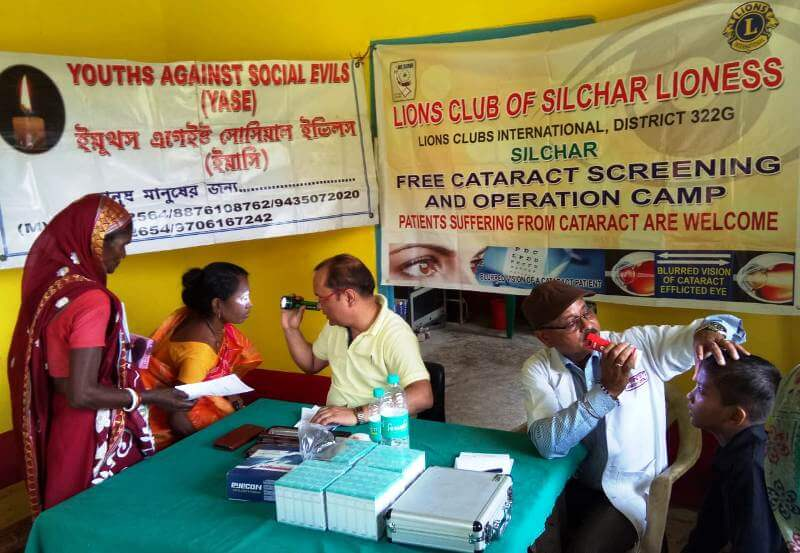 A free cataract detection and eye check-up camp organized by Lions Club of Silchar Lioness and Youths Against Social Evils