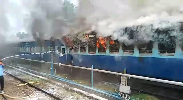 Three Coaches Of Stationary Silchar-Trivandrum Express Gutted