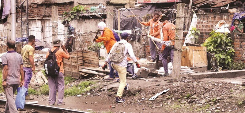 Eviction Drive Along Railway Tracks From Guwahati Railway Station To Bharalamukh