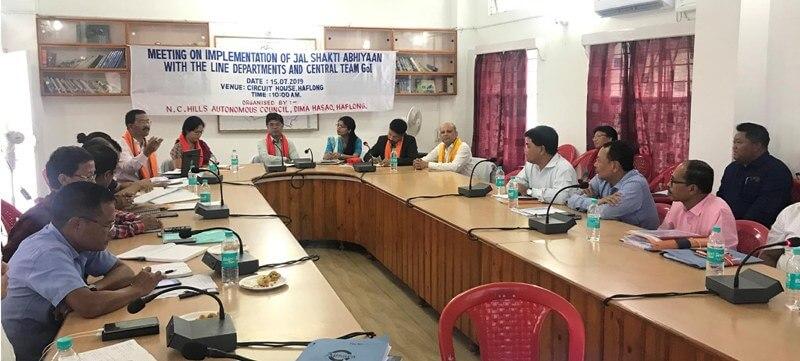 Meeting at Haflong Circuit House to discuss execution of Jal Shakti Abhiyan in Dima Hasao