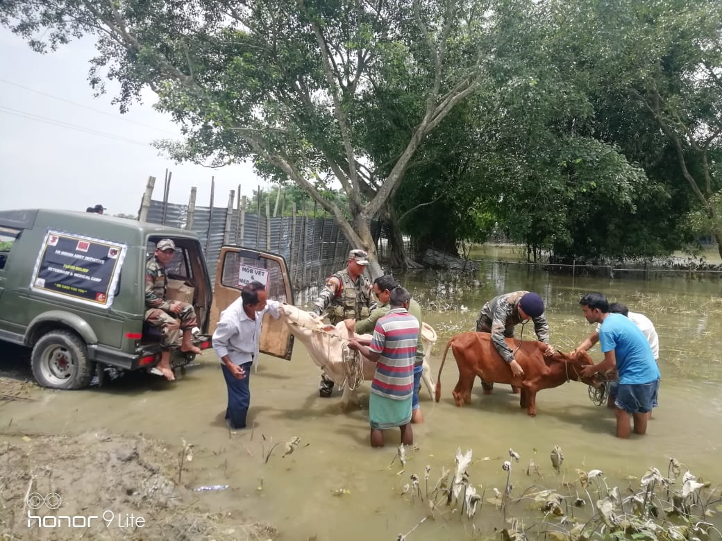 Indian Army takes initiative for Flood Relief Veterinary & Medical Camps in Lower Assam