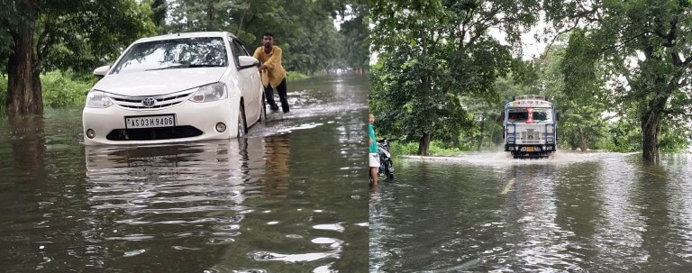 Inundated National Highway 37, Kaliabor SDO sounds alert, Vehicles movement restricted