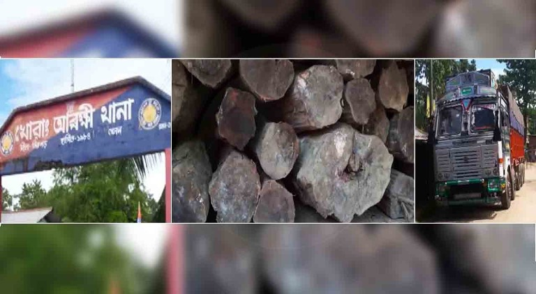 Truck laden with illegal Khair Timbers seized by police at Khowang in Dibrugarh