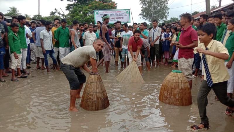 ABMSU stages road blockade demands immediate road repair in Kokrajhar