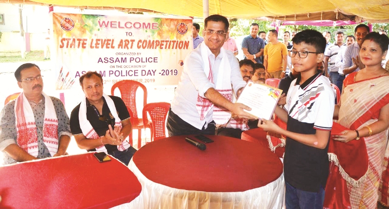 Art Contest For Students By Assam Police At Number 2 Residential Area