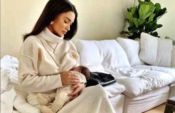 Amy Jackson shares image of breastfeeding her newborn