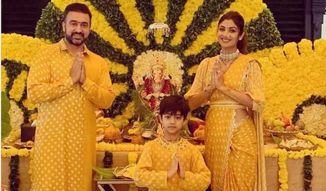Shilpa Shetty Reserves a Yellow Welcome for Ganpati