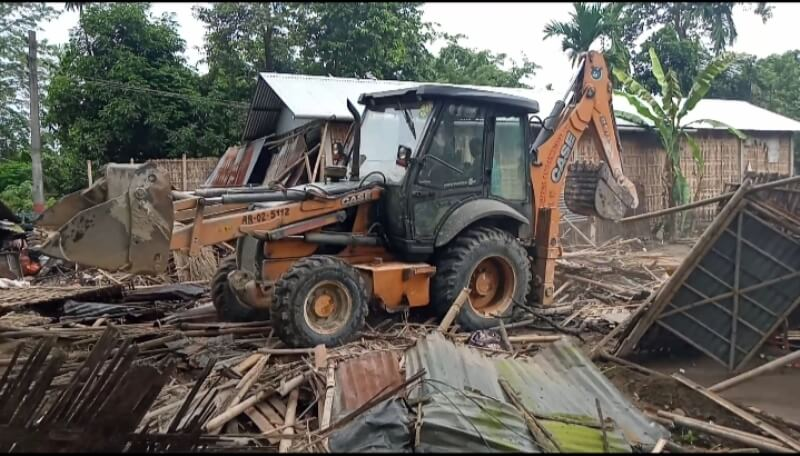 Houses demolished under Eviction drive at Imphals reserved forest area